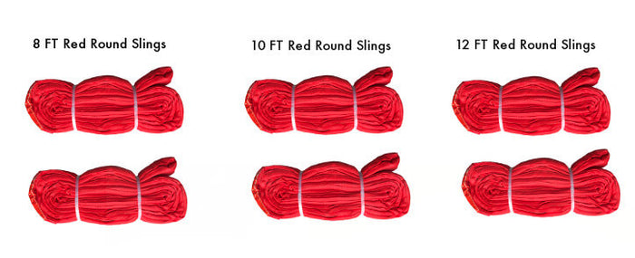 Red Polyester Round Sling Kit 13,200 LBS WLL