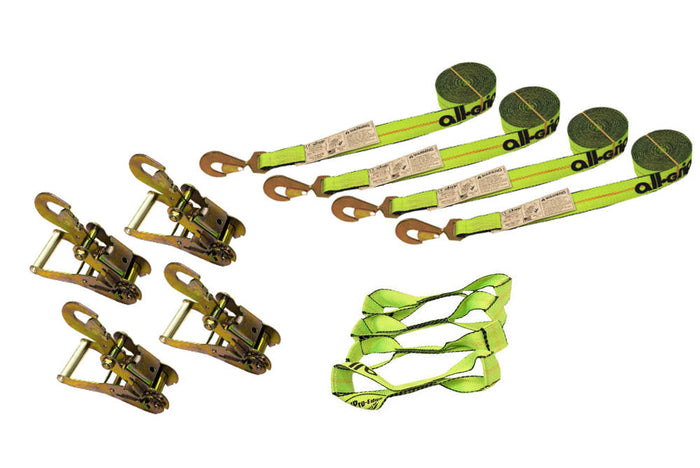 8 Point Tie Down Kit 14' Snap Hook Straps Hi-Viz &  Snap Hook Ratchets