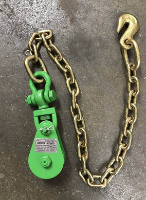 2 Ton Snatch Block with chain available in green at Baremotion
