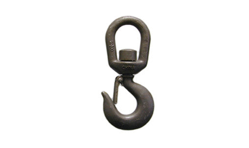 15 Ton Alloy Swivel Hoist Hook with latch, made of quenched, forged alloy steel.