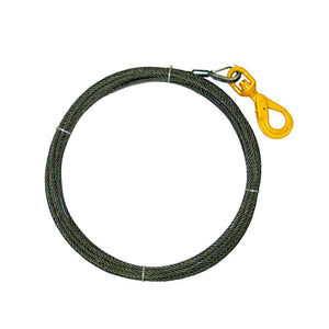 "3/8"" x 50 ft Steel Core Winch Cable with Self Locking Swivel Hook.  Made with IWRC Steel and a 6 x 19 braided construction."