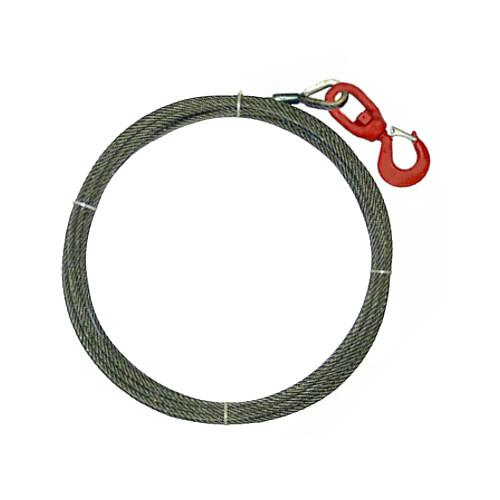 "3/8"" x 50' Steel Core Winch Line with Swivel Hook"