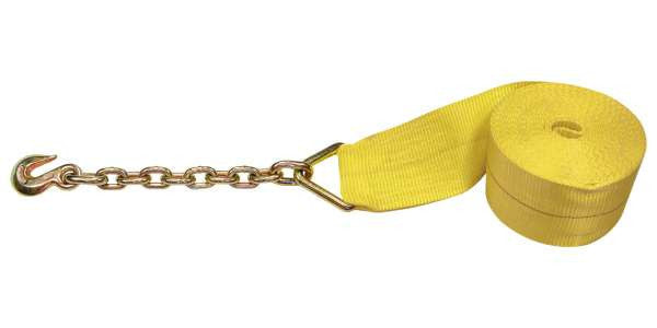 "4"" x 30' Winch Straps with Chain Extension - Made or assembled in USA ."