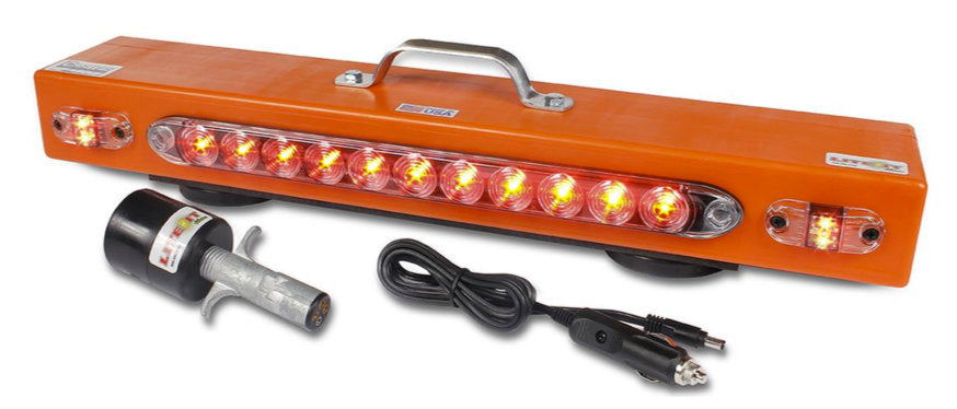 "The NEW 23"" Wireless Tow Light Bar, from Custer Products, has a nearly indestructible polyethylene case and a steel handle for ease of use during tows.  It also has separate turn signal lights which are required in several states."