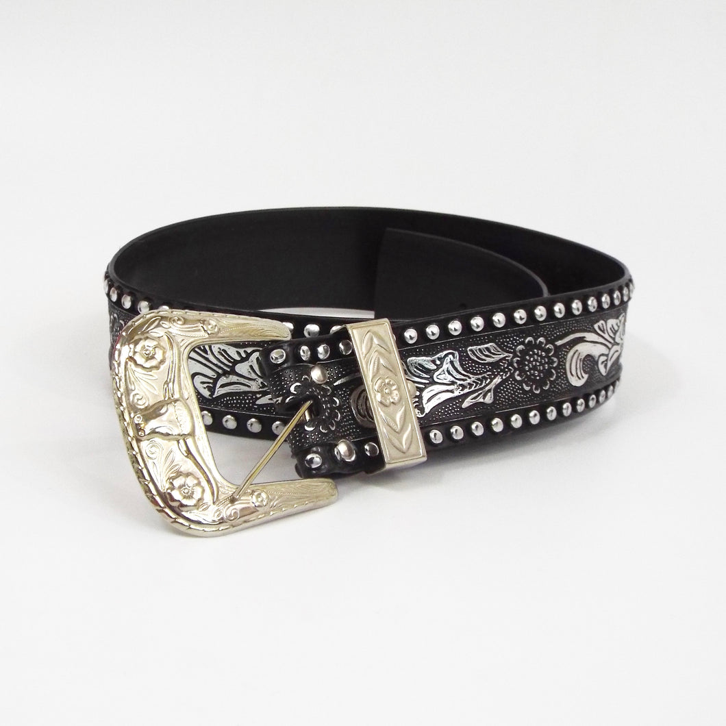 Silver & Black Western Decorated Belt
