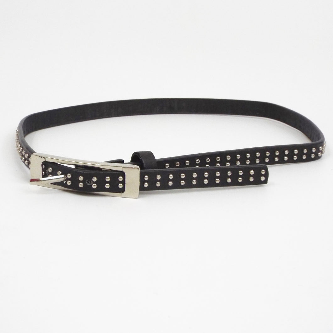 Narrow Black Belt with Silver Look Beads