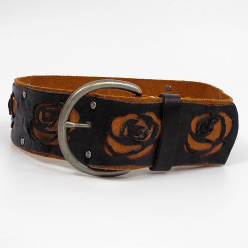 Wide Leather Belt with Black Rose Cutouts