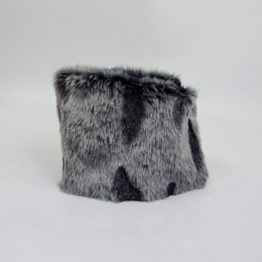 Gray Spotted Faux Fur Velcro-on Cuff