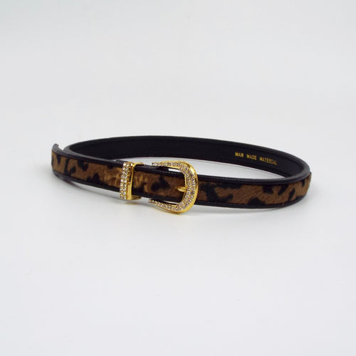 Faux Leopard Print Belt with Sparkling Gold Buckle