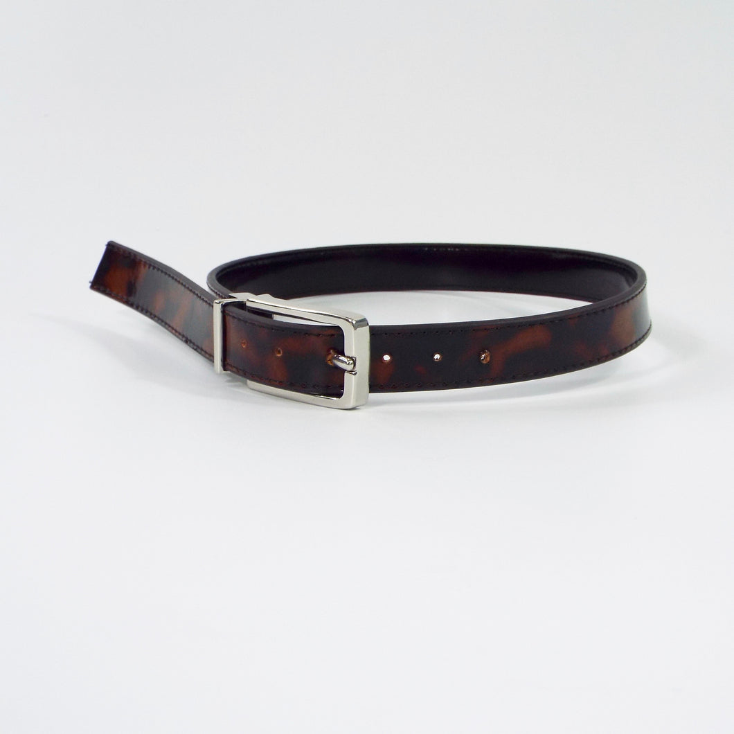 Tortoiseshell Belt with Silver Buckle