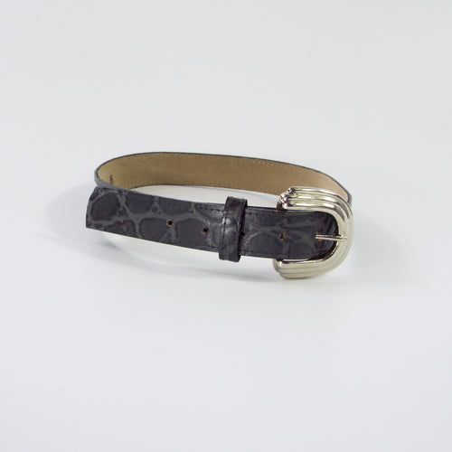 Gray Alligator Pattern Belt with Silver Buckle