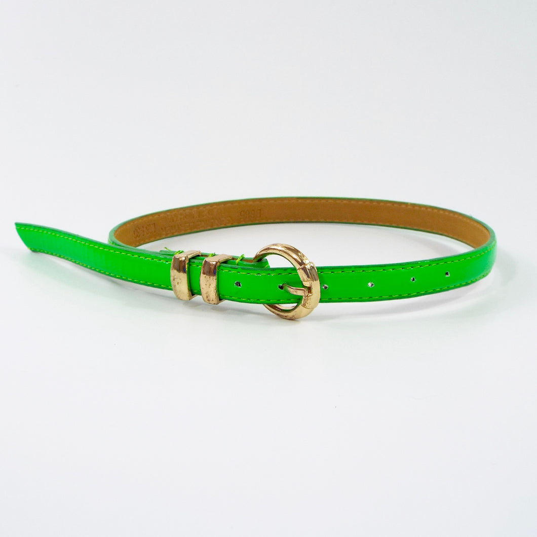 Bright Green Belt with Gold Buckle