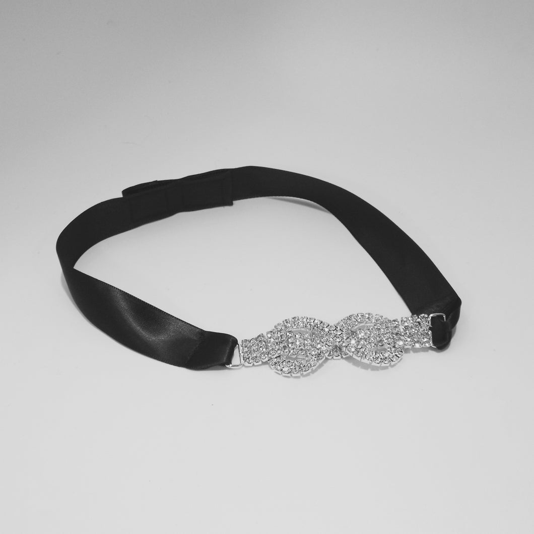 Rhinestone Figure 8 with Black Satin Ribbon