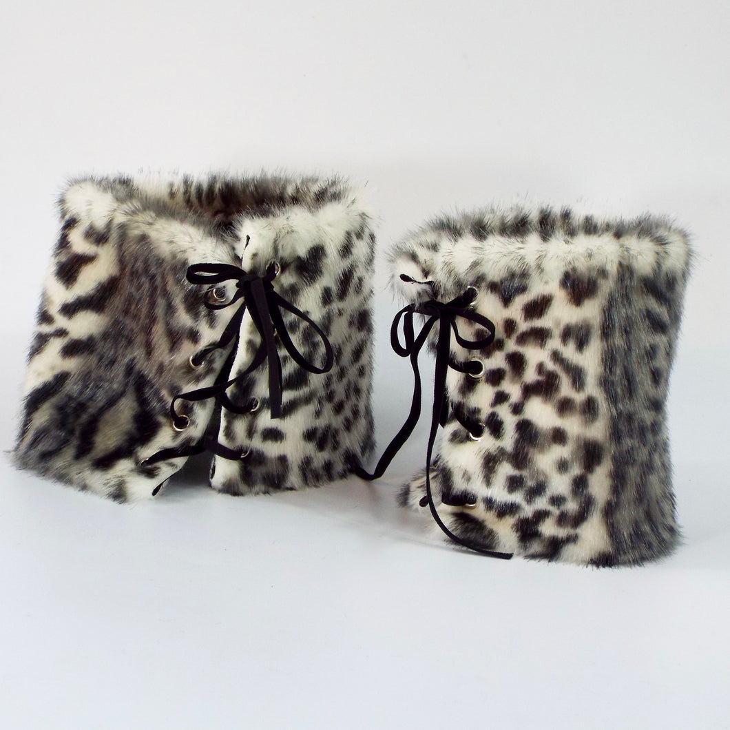 White Snow Leopard Matching Set of 2 Faux Fur Cuffs