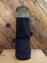 Portland Rain boot cover for medical boots and aircasts water resistant and reversible brown and black with fun leopard print cuff
