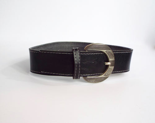 Black Belt with Etched Silver Buckle