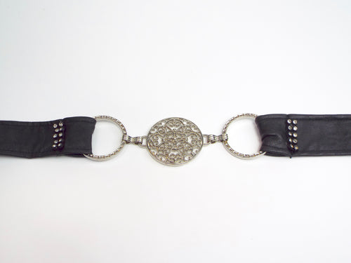 Black Band with 3 Silver Circles and Rhinestone Accent