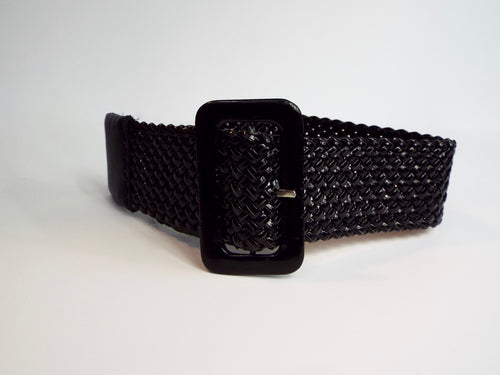 Black Woven Vinyl Belt with Large Black Buckle