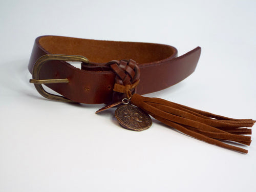 Brown Leather Belt w/Tassel and 2 Charms