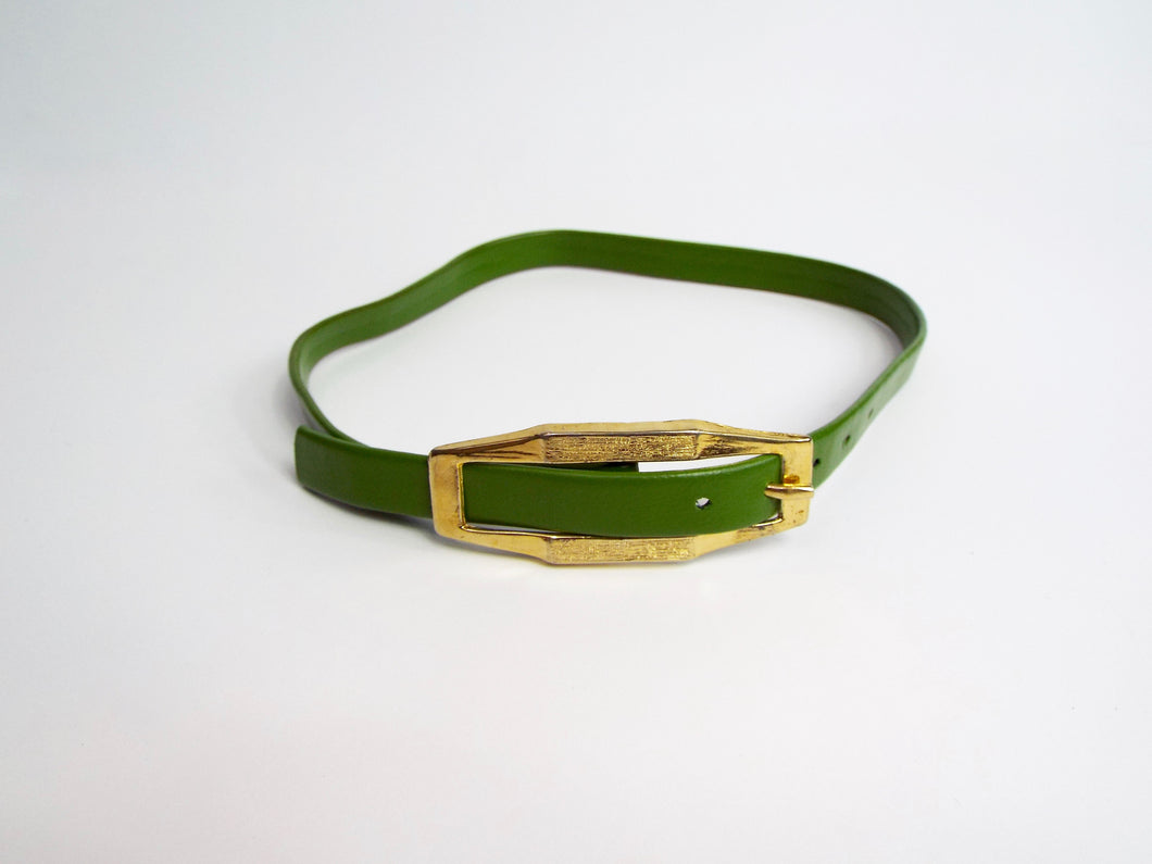 Avocado Green Belt w/Gold Buckle
