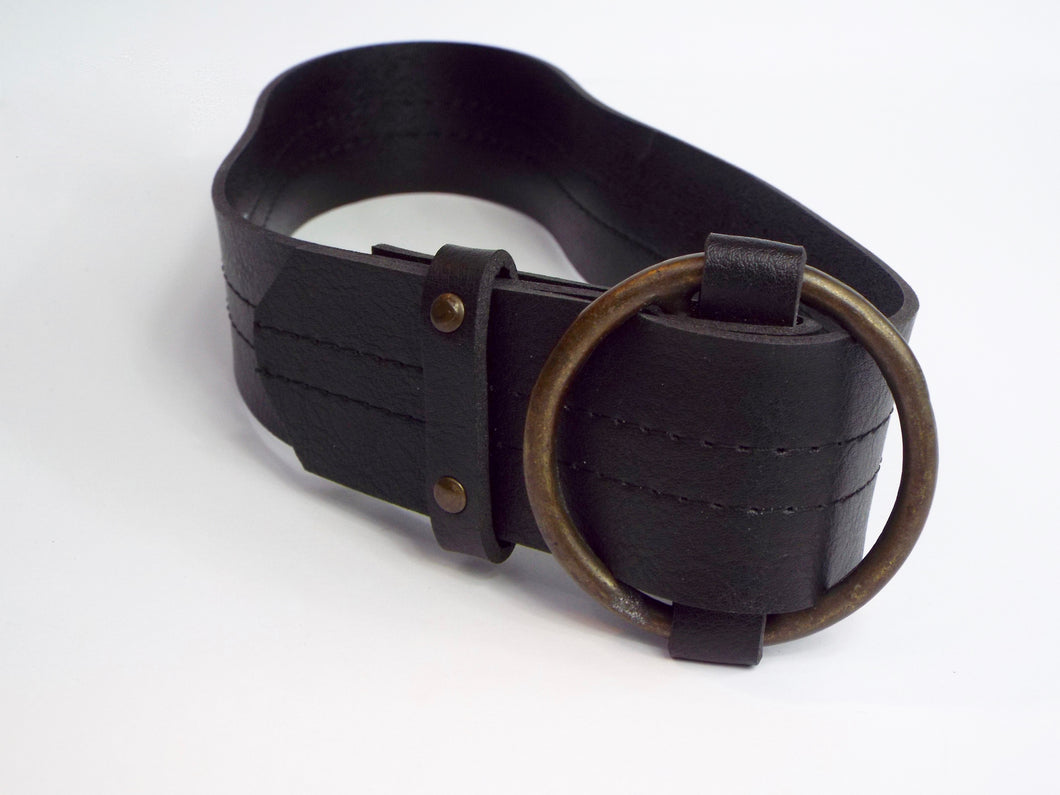 Black Belt w/Large Circle Brass Buckle