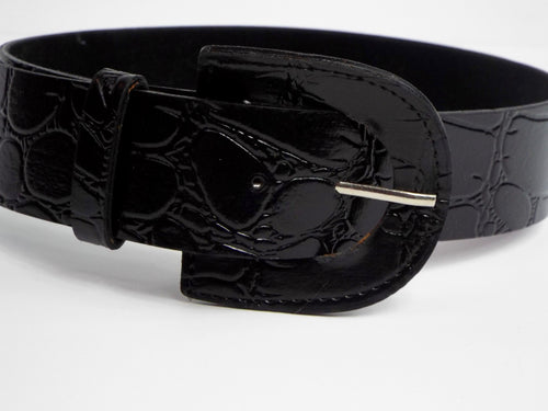 Solid Black Alligator Textured Belt