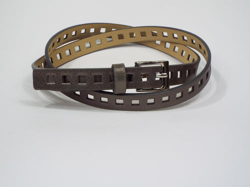 Double Wrap Gunmetal Bronze die Cut Belt