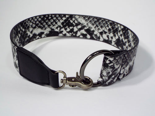 Black & White Snakeskin Pattern Belt