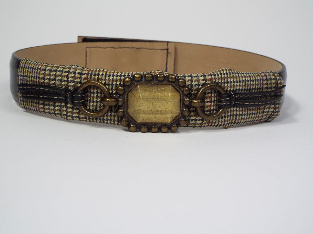 Tan and Tweed Wrapped Band with Amber Jewel
