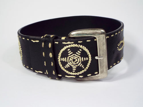 Black & Beige Embroidered Belt