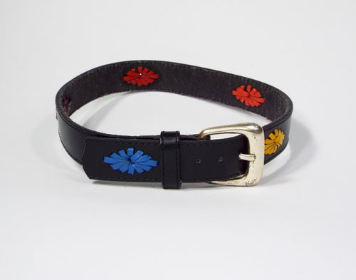 Black Belt with Colorful Embroidered Accents