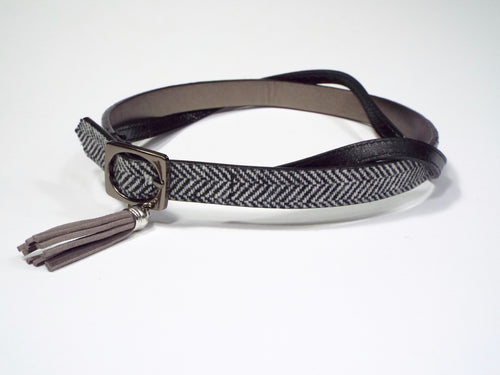 Black & White Chevron Pattern Double Belt