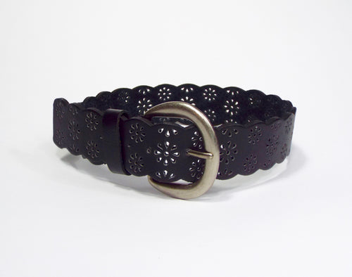 Black Scalloped Edge Pierced Belt