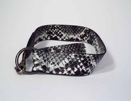 Black & White Snakeskin Pattern Belt with Flare