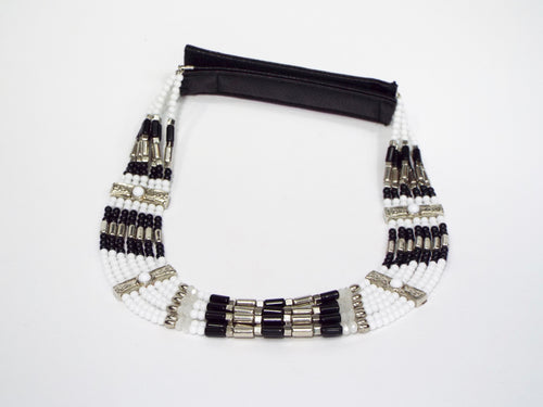 Black & White Beaded 7 Strand Band