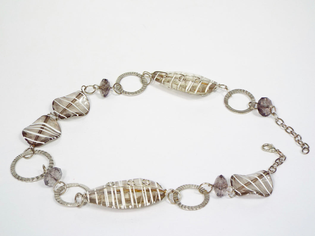 Silver/white Striped Clear Bauble Necklace-Band