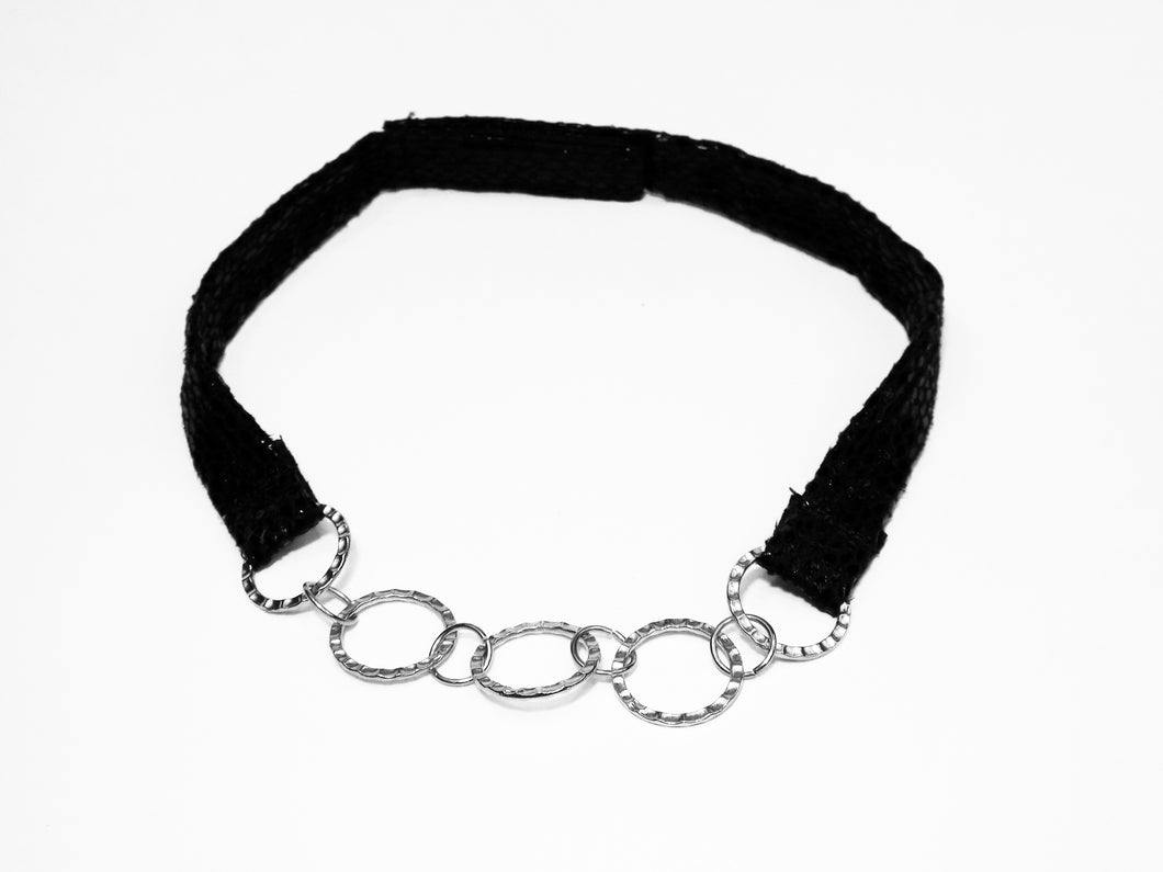 Black Textured Fabric band with Silver Links