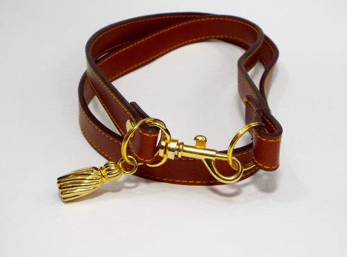 Double Wrap Chestnut Belt w/Gold Accents
