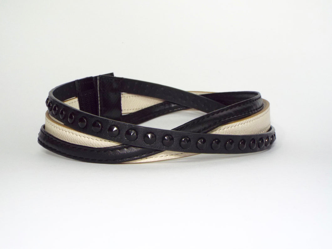 Trio of Black and Ivory Mini Belts