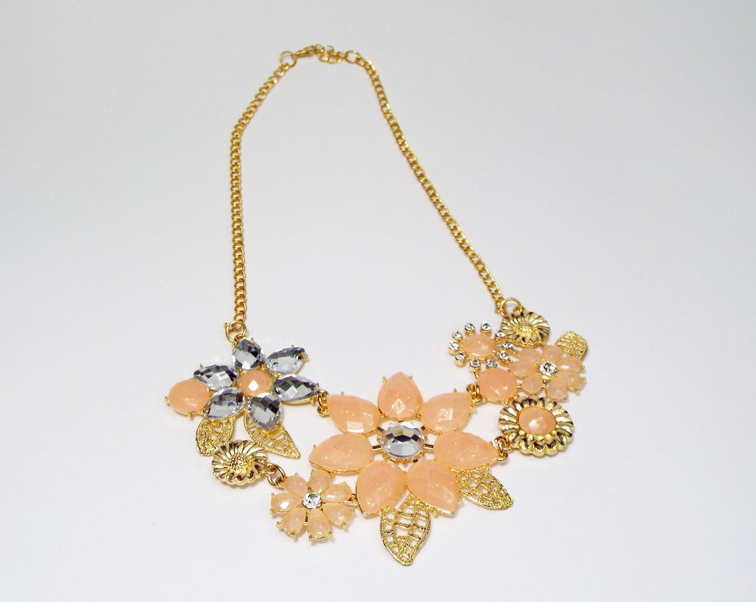 Peach and gold floral jewel necklace band