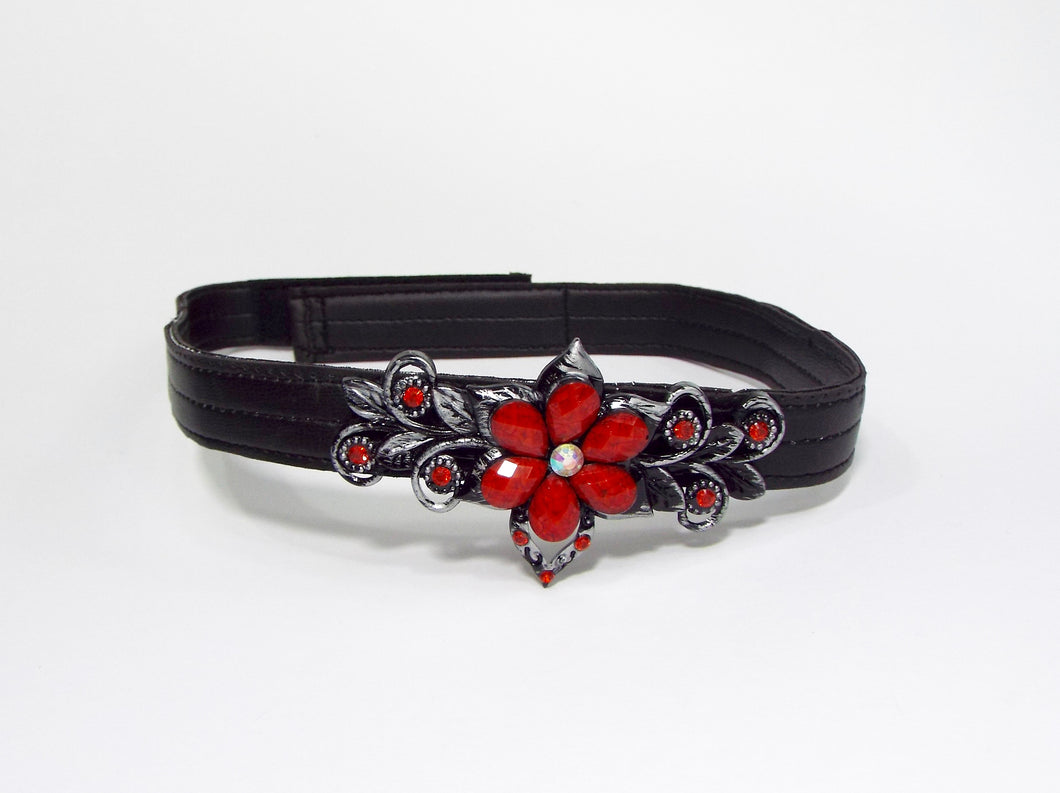 Black Band with Red and Silver Floral