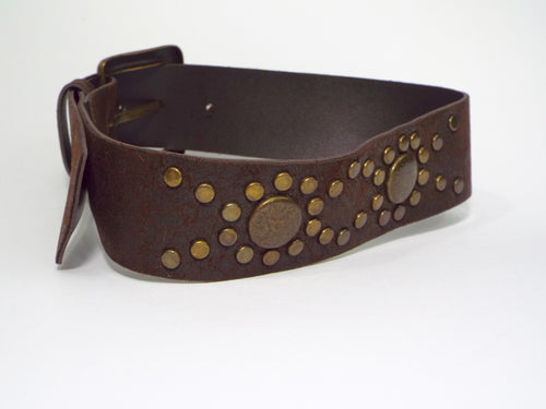 Dark Brown Belt w/Brass Metal Pattern