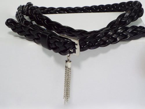 Double Black Braided Belt with Metal Tassel
