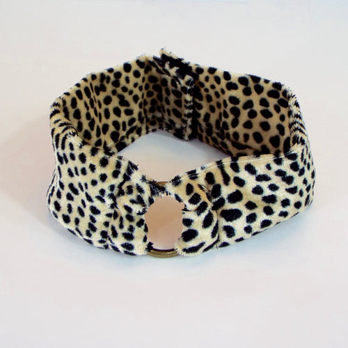 Cheetah Print Fabric Band w/Bronze Accent