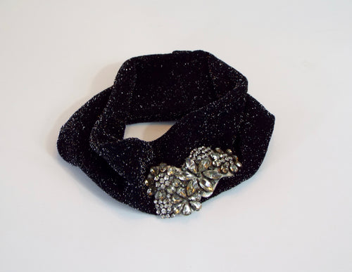 Sparkling Black Fabric Band w/Rhinestone Accent