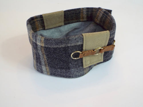 Gray Wool Plaid Cuff with 3 Ring Accents