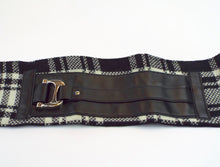 Black &  White Plaid Cuff with Large Silver Buckle