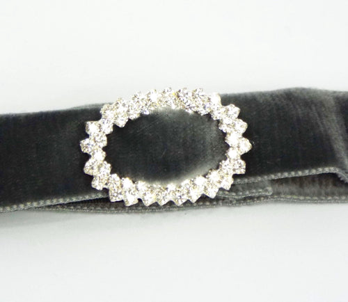 Velveteen Band with Rhinestone Buckle