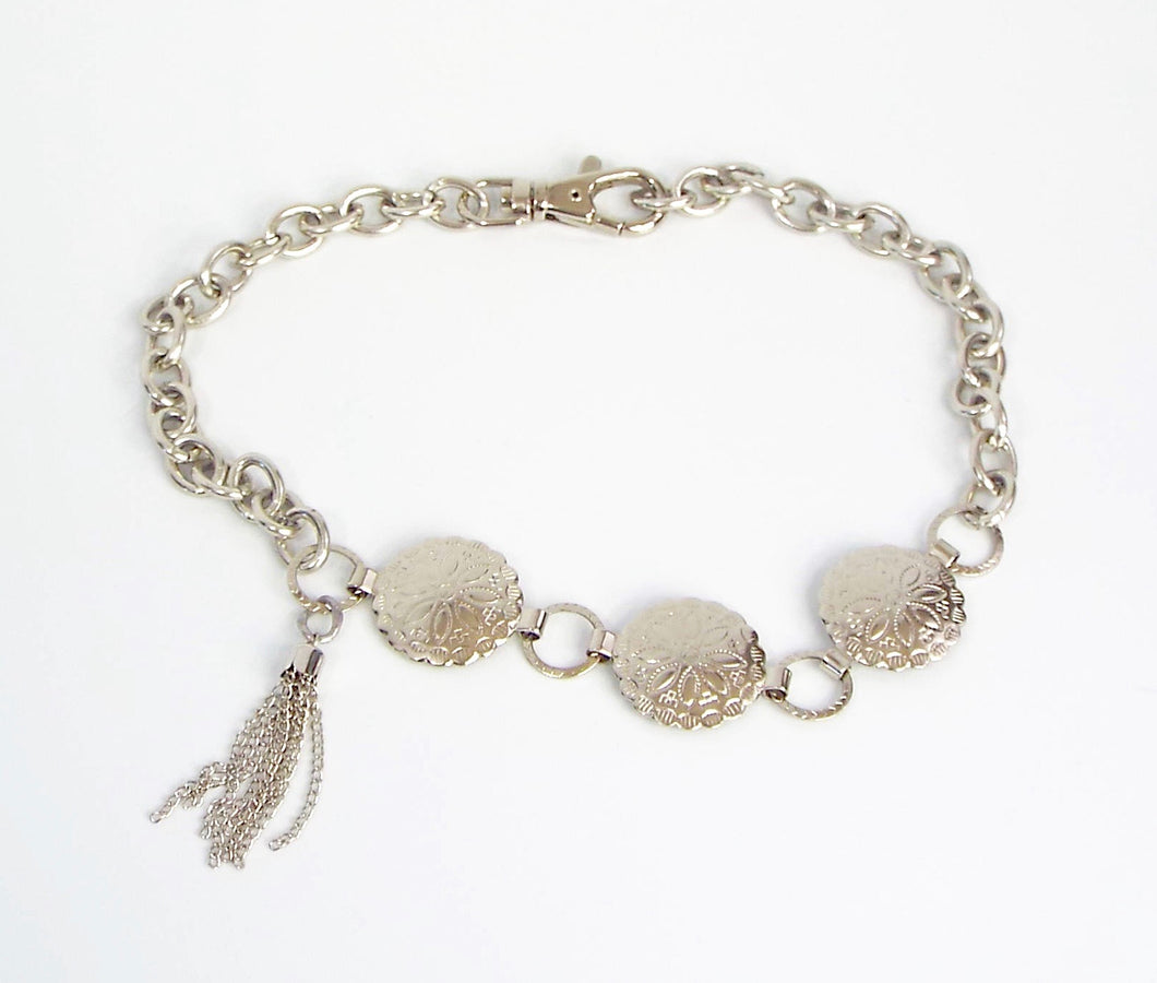 Western Styled Embellished Silver Chain Band