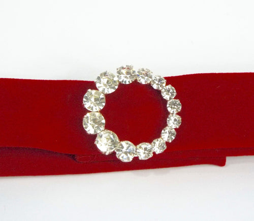 Red Velveteen Band with Rhinestone Buckle